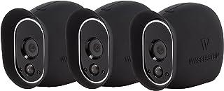 3 Fundas de Silicona compatibles con la cámara de Seguridad Arlo Smart Security - Cámaras 100% inalámbricas de Wasserstein (Negro)