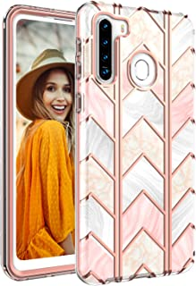 JIAHYJcase Samsung Galaxy A21 Case,Slim Full-Body Stylish Protective Case,Shockproof Protection Hard Plastic and TPU Phone Case for Samsung Galaxy A21 (Pink/Rose Gold)