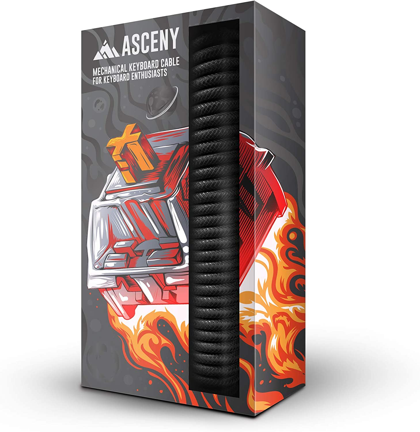 Asceny Coiled & Double-Sleeved USB Type-C Cable (Black)