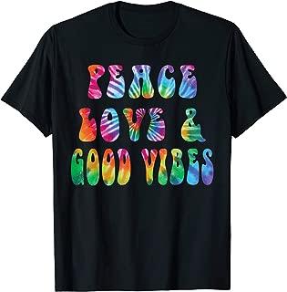 Peace Love & Good Vibes Tie Dye Cool Tye Die Rainbow T-Shirt
