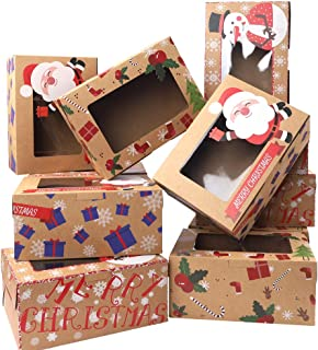 Moretoes Christmas Doughnut and Cookie Gift Boxes Treat Boxes with Clear Window Brown Kraft with Christmas Designs, Set of 30 Boxes