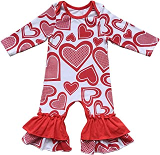 Baby Girls Easter Egg Print Icing Ruffle Jumpsuit Pants Love Heart Floral Birthday Outfit Ruffles Romper Bodysuit Pajamas