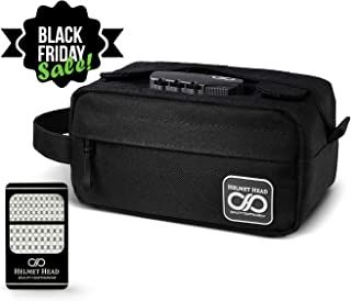 Compact Smell Proof Case + Grinder Card by HELMET HEAD | Durable Water Repellent Smell Proof Container with Combination Lock For Your Herbs + Smelly Accessories: Pipe, Vape, Rolling Papers (Black)