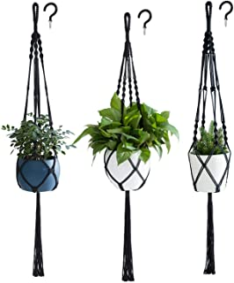 PROTITOUS Macrame Plant Hanger 3pcs Black Indoor Hanging Planter Basket Flower Pot Holder Cotton Rope with Ceiling Hook,Same Size,4 Legs 39 Inch