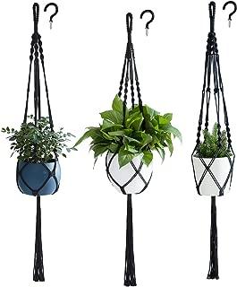 PROTITOUS Macrame Plant Hanger 3pcs Black Indoor Hanging Planter Basket Flower Pot Holder Cotton Rope with Ceiling Hook,Same Size,4 Legs 37 Inch