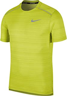 Nike Men's Dry MILER Top SS, Silver(Bright Cactus/Htr/Reflective Silv322), Large