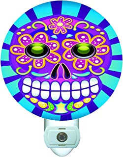 Gotham Decor Day of The Dead Skull Decorative Round Night Light