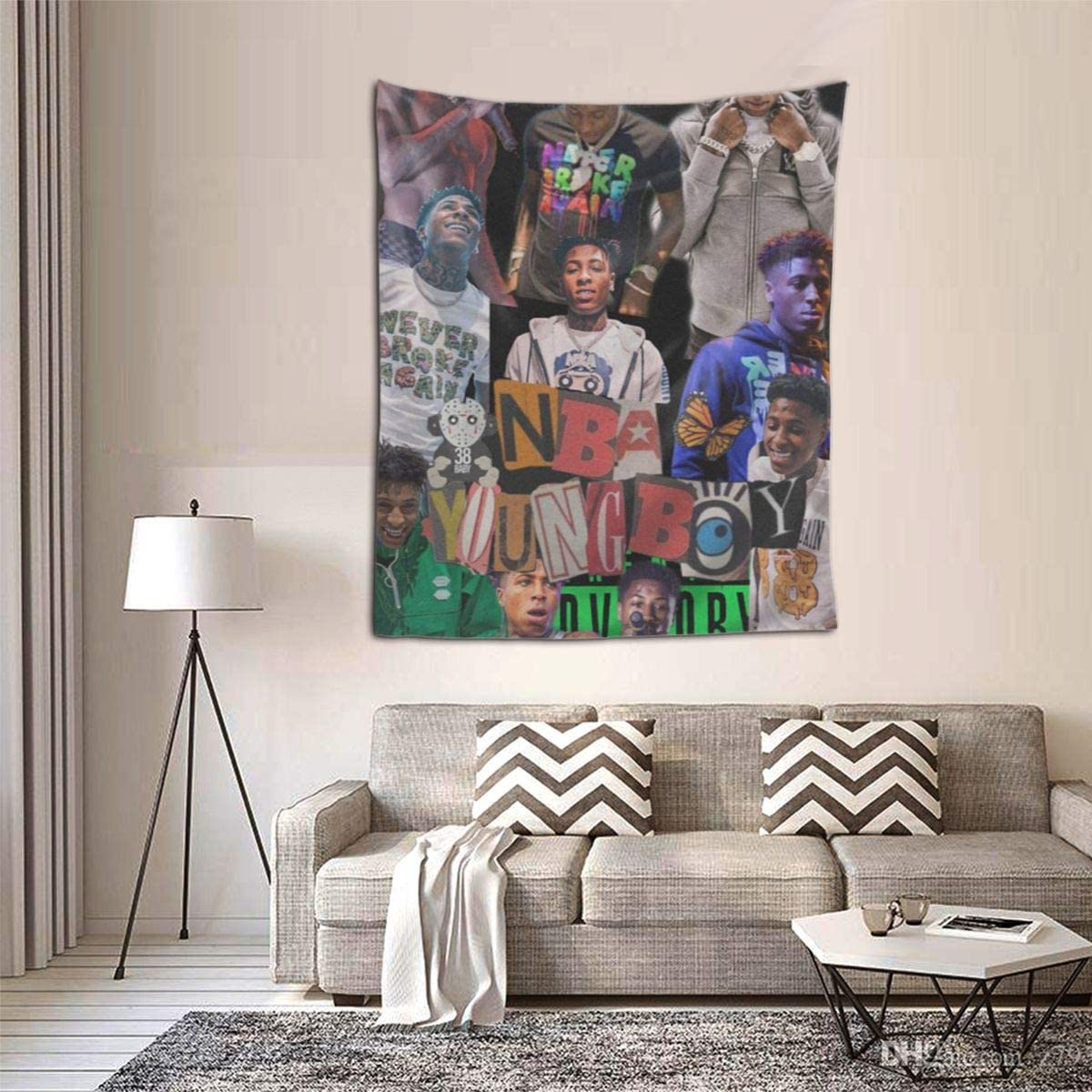 ZEMIOF NBA YoungBoy Tapestry Dorm Decor For Living Room Bedroom 51x60 Inches