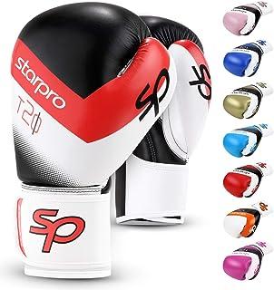 comprar comparacion Starpro T20 Guantes de Boxeo | Cuero de PU | Negro Blanco Rosa y Azul | para Entrenamiento y Sparring en Muay Thai Kickbox...