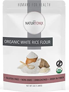 Organic White Rice Flour, 3 LB Resealable Pouch, Batch Tested and Verified Gluten Free, Non GMO and Certified Kosher, Prod...