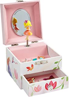 Jewelkeeper Musical Jewelry Box, Pink Flowers and Princess Design with Pullout Drawer, Waltz of The Flowers Tune
