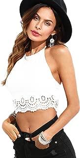 Women's Summer Solid Halter Scallop Hollow Camis Crop Top Vest