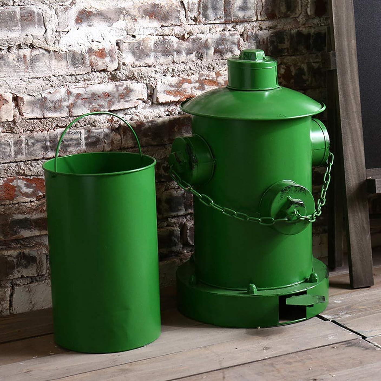 生き残り不潔罰WL 消火栓 ゴミ箱,子犬のおしっこのポストとペット ストレージ コンテナー 金属 ごみ箱 クリエイティブ ホームのゴミ箱 バー-グリーン 30x34x43cm(12x13x17inch)