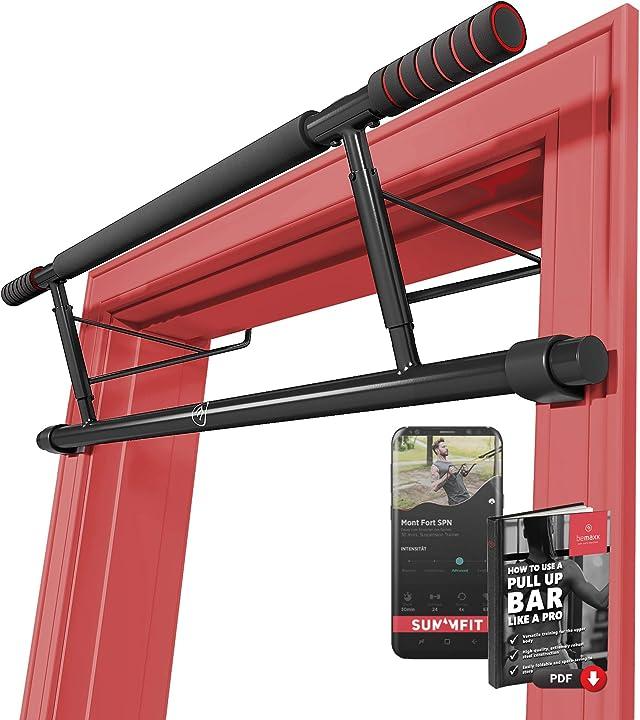 Barra per trazioni a porta senza avvitare/trapanare + guida all'allenamento - sbarra pull up -bemaxx BM-PU1