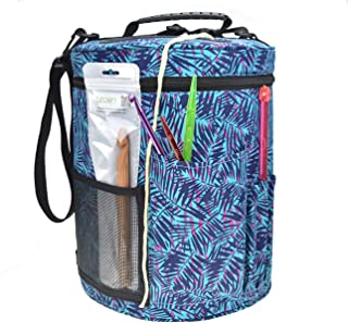 Large Capacity/Portable/Lightweight Yarn Storage Knitting Tote Organizer Bag with Shoulder Strap Handles Looen W/Pockets for Crochet Hooks & Knitting Needles … (Blue Leaves)