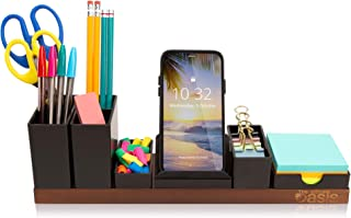 Customizable Desk Organizer - Office Supplies Holder Eliminates Your Desktop Clutter - Revolutionary Storage Caddy for Pens, Pencils, Phone and Accessories (Brown)