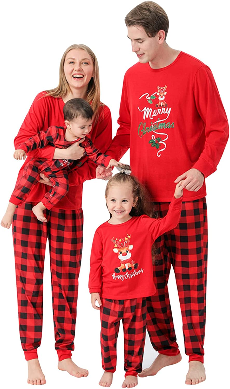 Christmas Matching Family Pajamas Sets - Merry Christmas PJ's with Reindeer, Long Sleeve Tee and Pants Sleepwear Loungewear