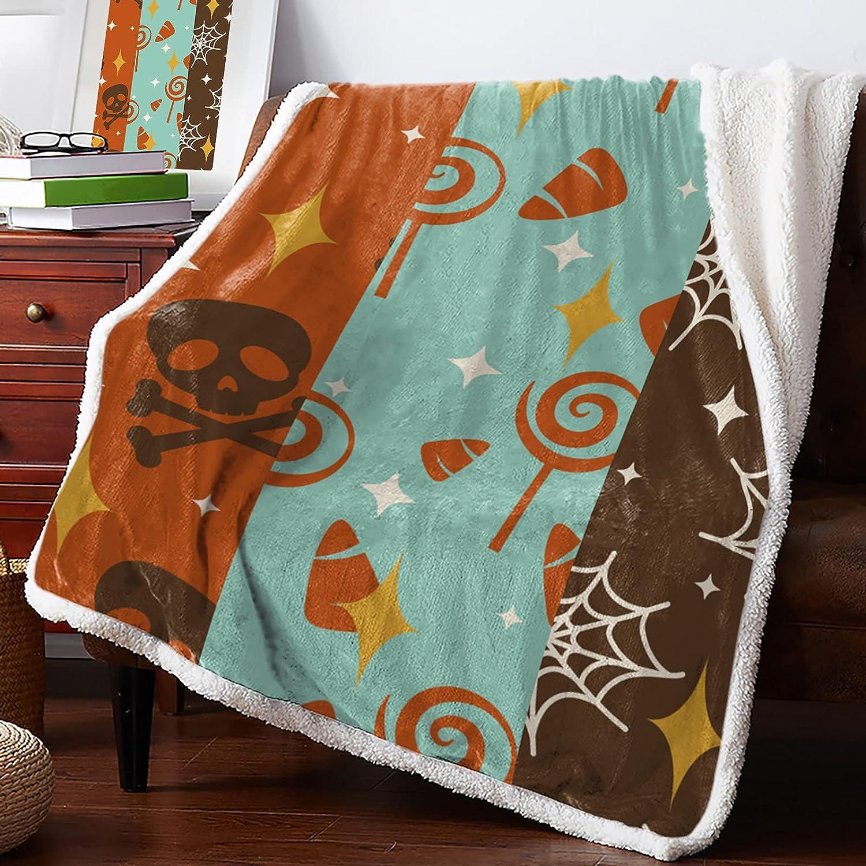 MuswannaA Sherpa Fleece Ranking TOP17 Throw Blanket Pattern Su Retro Complete Free Shipping Halloween