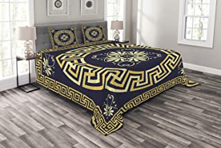 Ambesonne Greek Key Bedspread, Meander with Spring Inspired Floral Detail Rich and Retro Entangled Maze, Decorative Quilted 3 Piece Coverlet Set with 2 Pillow Shams, Queen Size, Blue Yellow