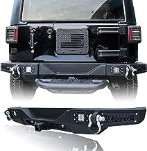 Hunter Rear Bumper Black Texture with 4 LED Lights & D-rings for 07-17 Jeep Wrangler JK & JKU