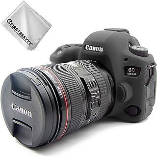 First2savvv Negro Cuerpo Completo Caucho de TPU Funda Estuche Silicona para cámara para Canon EOS 6D Mark II 6D MK II + paño de Limpieza XJPT-6D Mark II-GJ-01G11