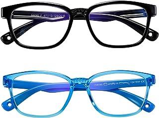 AHXLL Kids Blue Light Blocking Glasses 2 Pack, Anti Eyestrain & UV Protection, Computer Gaming TV Phone Glasses for Boys G...