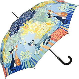 Vackert mönstrat paraply med kattmotiv.