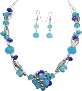 Beaded Ball Illusion Wire Lightweight Necklace and Dangle Earring Set
