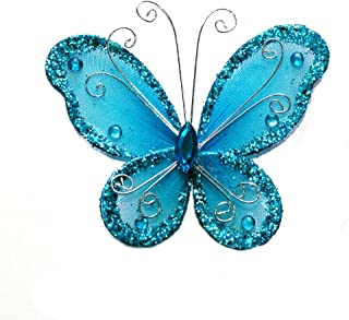 24 Turquoise Organza Nylon Wire Butterfly Wedding Arts and Crafts Decorations 2