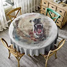Lauren Russell Printed Tablecloth Bear Watercolor Drawing Style Angry Looking Wild Animal Aggressive Vicious Growl Fangs Tan Red Black Outdoors Round Tablecloth Diameter 54