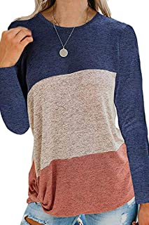 CHYRII Womens Casual Color Block Long Sleeve Twist Knot Knit Shirt Blouse Tops Pullover Sweater