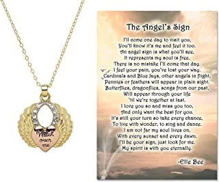 Lola Bella Gifts Guardian Angel Wing Watch Over Me Pendant Necklace with The Angel's Sign Poem Card Grief Memorial Sympath...