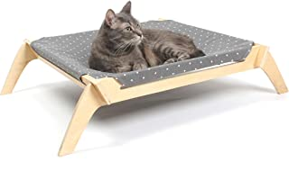 Primetime Petz Pet Lounge, Raised Indoor Pet Bed for Cats or Small Dogs, Reversible Fabric Hammock (Neutral Paint Spots/Cr...