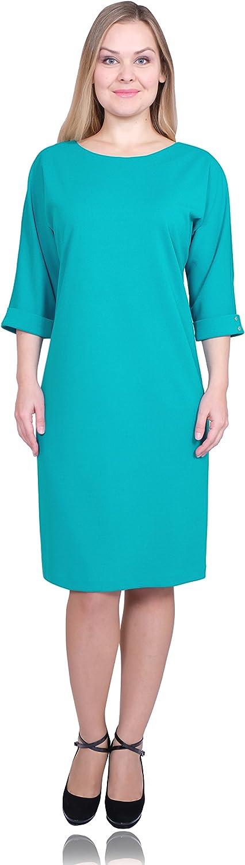 Max & Style Krista Women Casual Wear To Work Boat Neckline 3 4 Sleeve Back Zipper Vintage Dress US 1420
