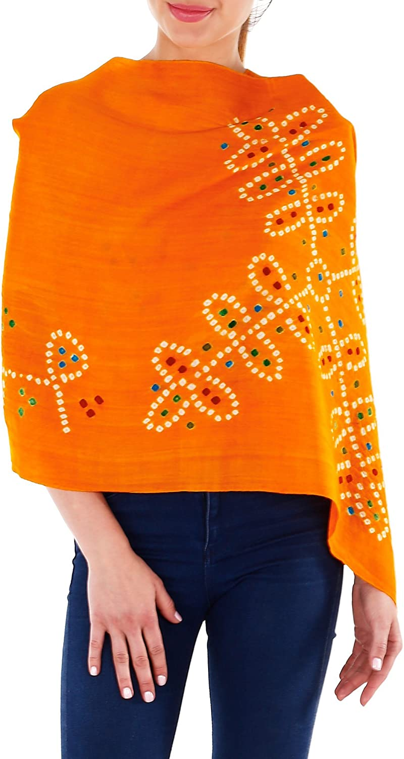 orange Wool Stole Women's Accessories Tie Dye Gifts for Women 24 x 70 Inches