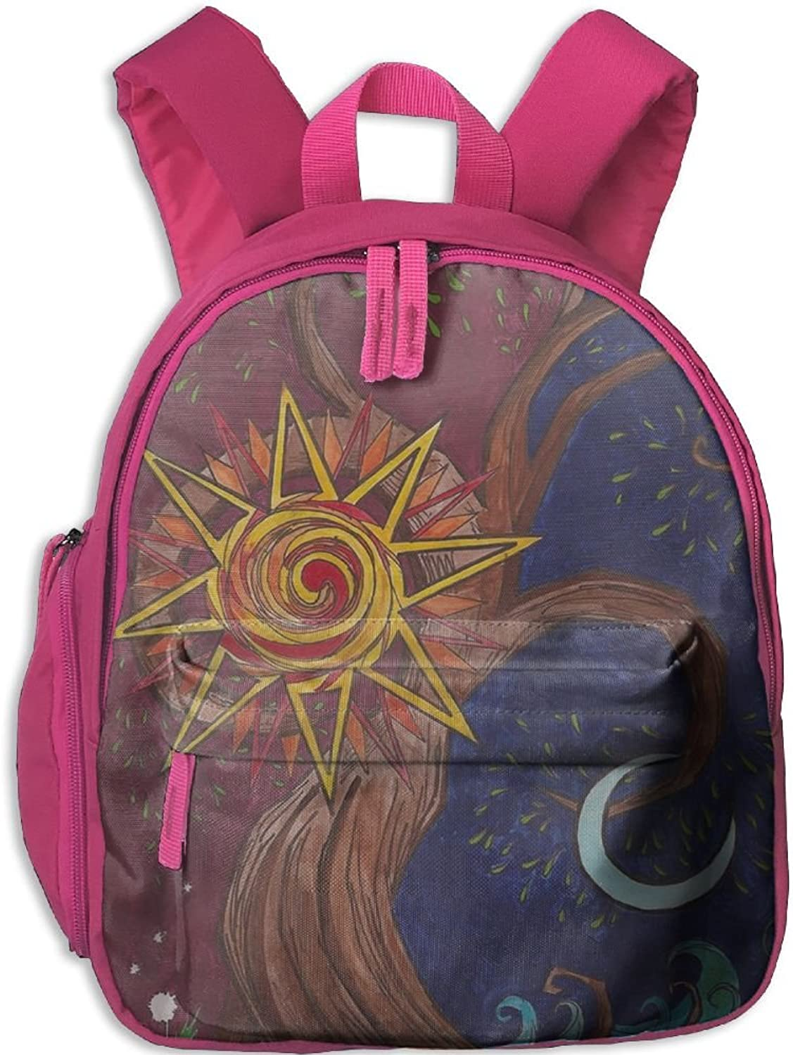 Pinta Vintage Sun and Moon Painting Cub Cool School Book Bag Backpacks for Girl's Boy's