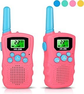 Walkie Talkies for Kids, 3 Miles Teen Girls Gifts 22 Channels 2 Way Radio Kids Walkie Talkies for Girls with Flashlight, Birthday Toy Gift for Boys & Girls 3-12 Years Old for Outdoor Camping-Rose Red
