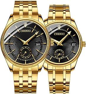 Couple Watches Dress Wrist Watch Golden Watch Men Women Stainless Steel Waterproof Quartz Watch