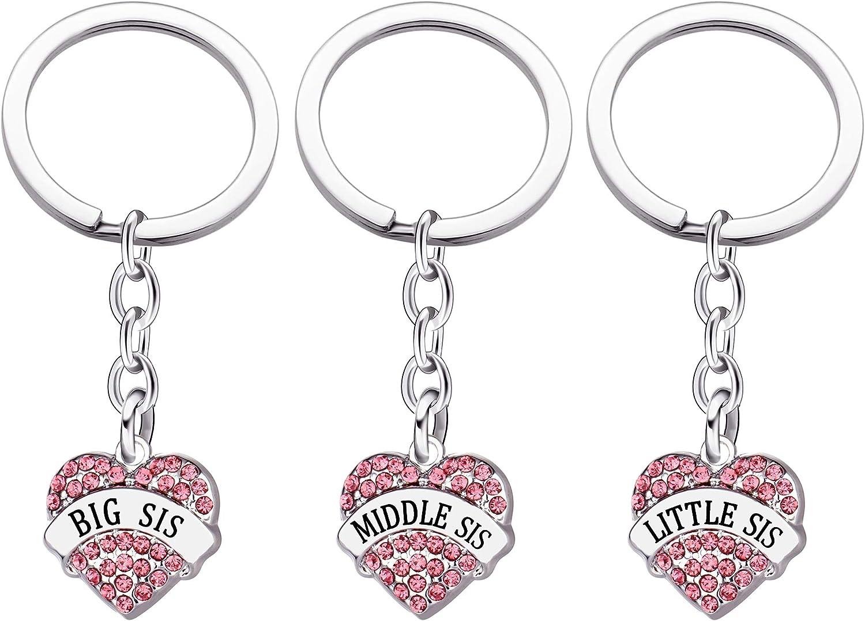 Maxforever Sweet Sisters Crystal Heart Pendant Keychains Keyrings (Pink), Large