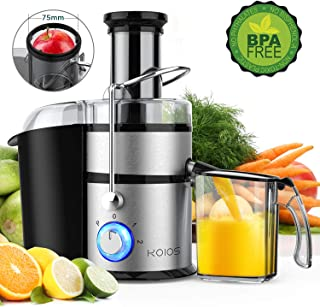 "KOIOS Centrifugal Juicer Machines, Juice Extractor with Big Mouth 3"" Feed Chute, 304 Stainless-steel Filter, High Juice yield, Easy to Clean&100% BPA-Free, 1200W&Powerful, Dishwasher Safe, Included Brush"