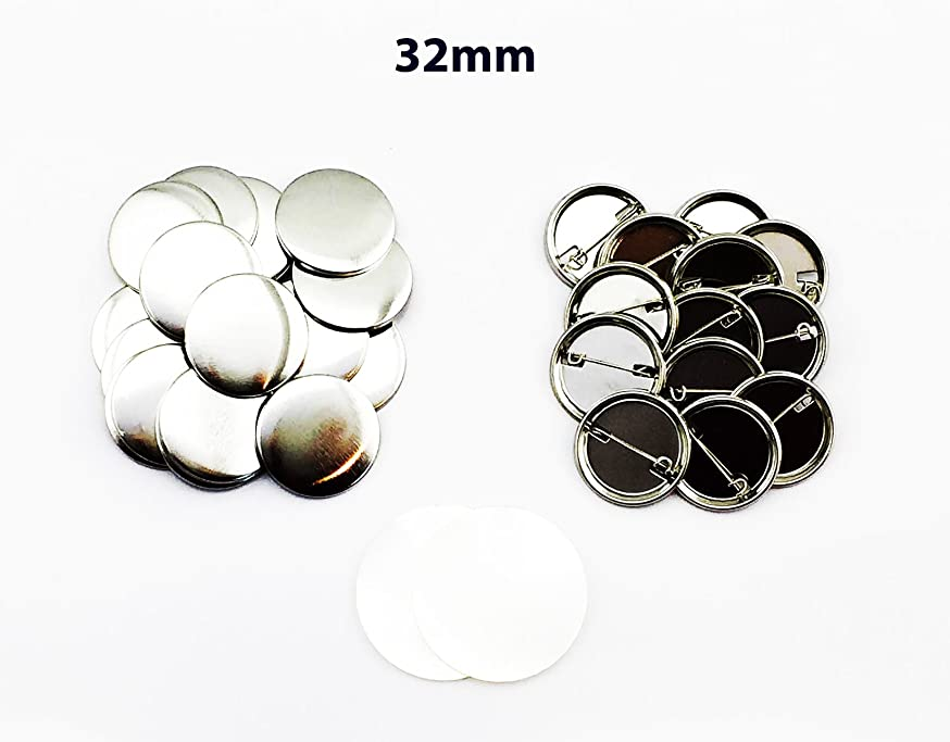 ChiButtons 32mm Metal Pin Badge Round (300Sets) Metric System