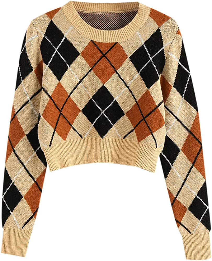 ZAFUL Women Argyle Crop Sweater Cardigan Lightweight Crop Jumper V-Neck Sweater Vest
