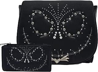 The Nightmare Before Christmas Jack Studded Crossbody Bag Wallet Set (Black)