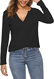 Azue Womens Long Sleeve Tops V Neck Knit Loose Fitting Warm Tee Pullover Sweater Blouses Waffle Cute Casual Style
