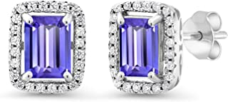 4.28 Ct Emerald Cut Blue Tanzanite 925 Sterling Silver Earrings