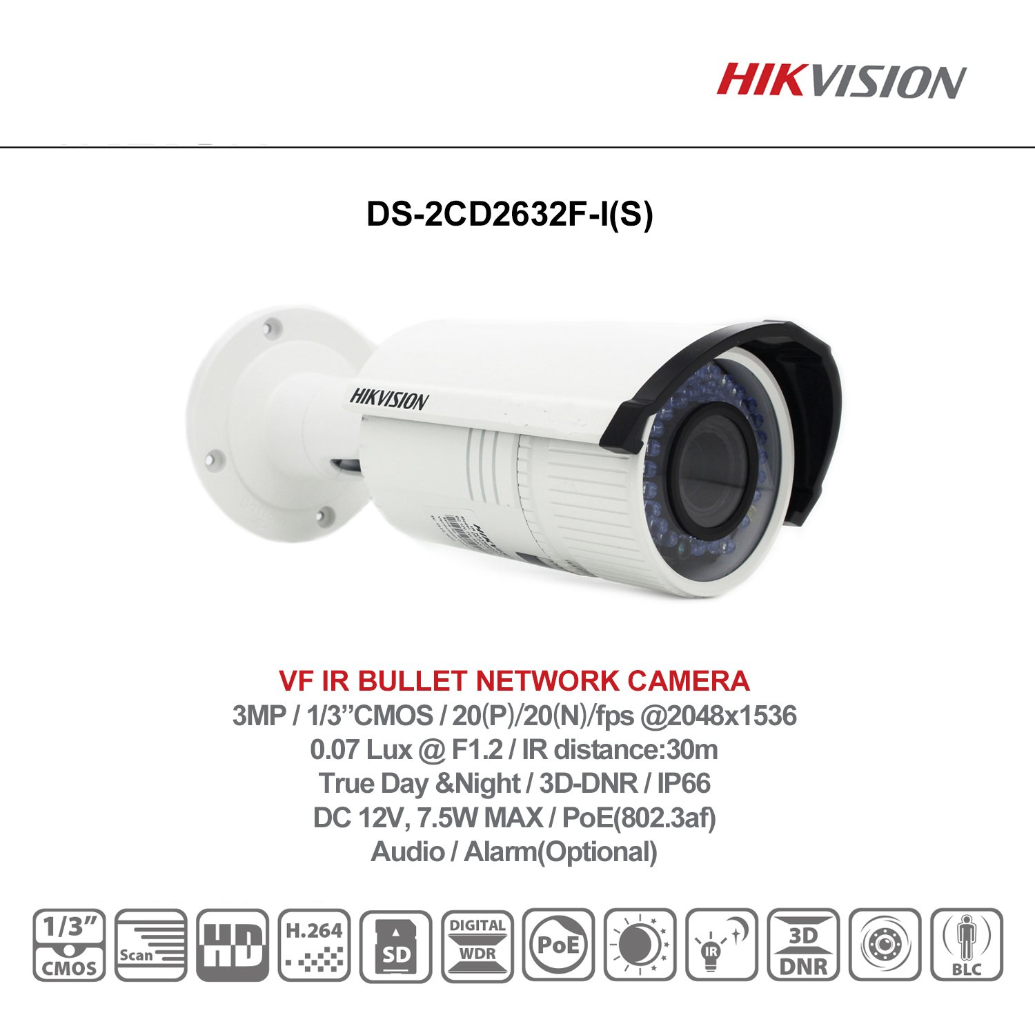 HIKVISION 3MP Verifocal IR Bullet Network IP Camera 2.8-12mm DS-2CD2632F-IS Camera