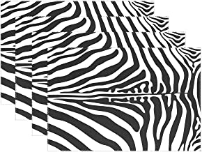 WOZO Animal Skin Zebra Print Placemat Table Mat 12 x 18 Polyester Table Place Mat for Kitchen Dining Room Set of 4