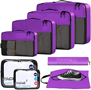 BAGAIL 6 Set / 8 Set Packing Cubes Luggage Packing Organizers for Travel Accessories(8 Set Purple)