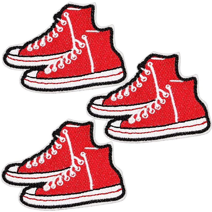 U-Sky Sew or Iron on Patches for Clothes - Red Canvas Shoes Patch for Jackets, Jeans, Backpacks, Hats, Bags - Pack of 3pcs - Size: 3.0x2.1 inch