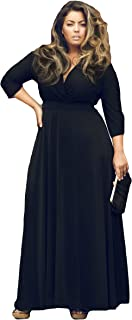 Women V Neck Plus Size Casual Dress 3/4 Sleeves Evening Party Maxi Dress
